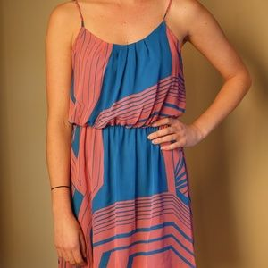 Collective Concepts Blue & Pink Patterned Dress